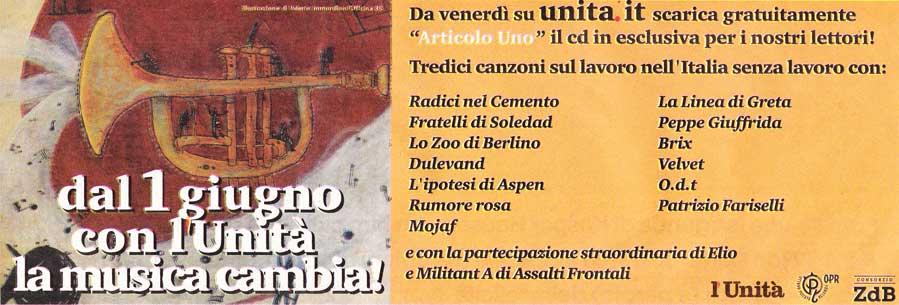 Articolo Uno in free download su L'Unità